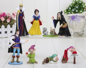 Snow white cake topper set figures birthday cake topper snow white party dwarfs prince charming evil queen witch collectable