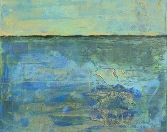 """Semi abstract landscape painting on canvas, blues and gold 12"""" x 12"""""""
