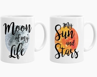 Game Of Thrones Mug Set, Khaleesi and Drogo Mugs, Moon of my Life, My Sun and Stars, GOT Gifts, Game of Thrones Gift P43