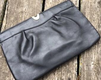 Vtg Black Clutch/Shoulder Bag