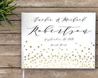 Wedding Guest Book with Gold Dots, Calligraphy, Custom Guest Book, Personalized Guest Book, faux gold, konfetti