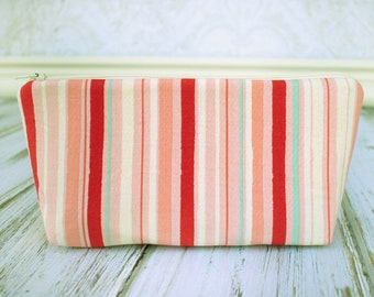 Zipper Pouch, Cosmetic Case, Make Up Bag, Red and Pink Stripe