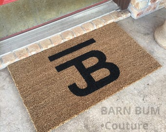 Your Cattle Brand / Ranch Brand Custom Hand Stenciled on a Natural Coir Welcome Doormat-Handcrafted, Personalized Gift