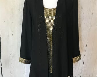 Vintage two piece sequin party suit - dress with jacket