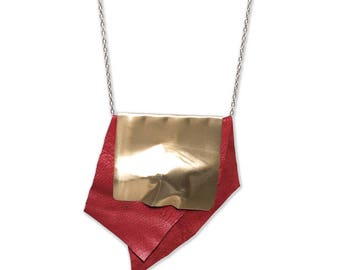 MAIA Red leather and brass