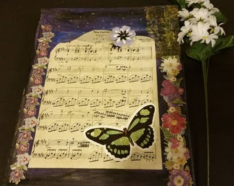 sheet music canvas, piano music, multi media, Nocturne, decoupage, wall art, home decoration 11x14