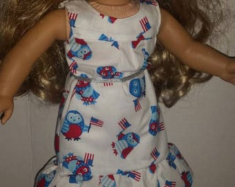 Patriotic Owl dress that fits American Girl or other 18in dolls