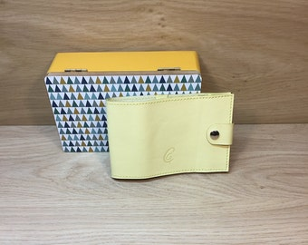 Door Long yellow leather checkbook