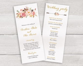 Floral Wedding Program Template, Whimsical Wedding Ceremony Program, Boho Wedding Program, Printable Wedding Timeline, Order of Ceremony