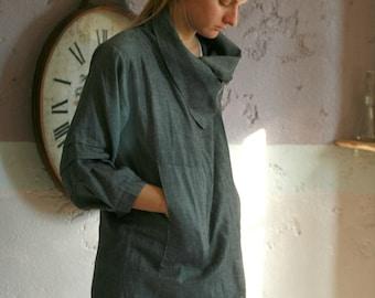 Dark grey linen cardigan, long jacket with pockets