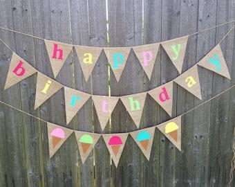 Happy Birthday ice cream cone burlap banner
