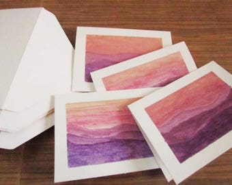 Set of 4 Handpainted Watercolor Gift Cards with Envolopes / Watercolor Painting / Handpainted Cards / Watercolor Gift Cards