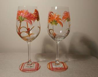 Indian paint brush wine glasses