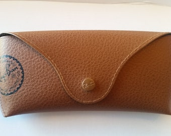 Classic Ray-Ban Sunglasses Case, Brown imitation leather with black interior, Luxottica