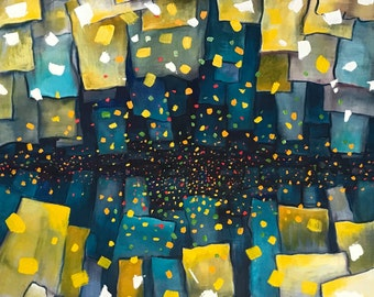 Cosmic Drama - original oil painting by Farvardin Daliri 102 cm x 76 cm
