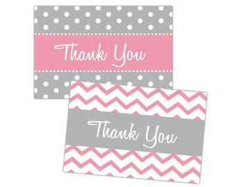 Thank You Cards | Baby Shower Thank You Cards | 4x6 Thank You Postcards | Thank You Note Cards | | Digital Download | Polka Dots Chevron