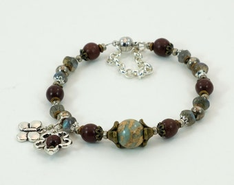 African Opal, Red Jasper, labradorite with mixed metal accents bracelet