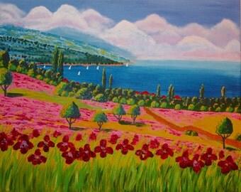 Original painting thick acrylic on canvas - Irises