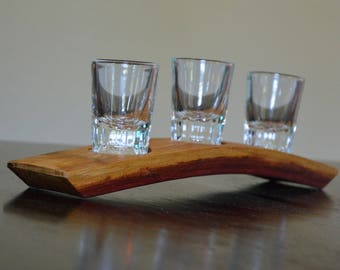 Bourbon Flight or Whiskey Flight With Reclaimed Wood Wine Stave Tray