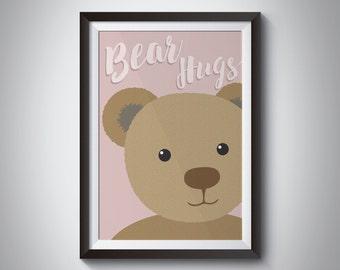 Bear Hugs Print - Wall Art - Nursery  - Bedroom Art - Teddy Bear