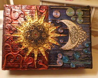 Polymer Clay Sun and moon jewelry box