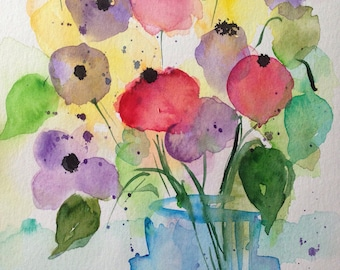 ORIGINAL WATERCOLOUR - bouquet flowers picture painting flowers nature