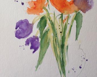 """Watercolor, flowers """"Bouquet"""" nature, 17 x 24 cm, unique"""
