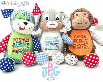 Personalised Teddy Bears, Cubby teddy bear, Embroidered Baby Teddy, New baby gift, Harlequin Cubbies