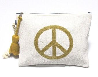 Swaraj Bag PEACE 2 tassels beescratchbag - GOLD bead embroidery piece casual denim chain