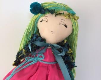 Fabric cloth doll, textile rag doll, handmade Heirloom doll, removable clothing