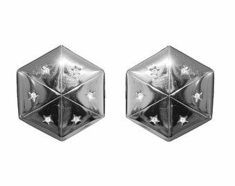Clips VINTAGE SPHINX - shape Hexagon crystal earrings