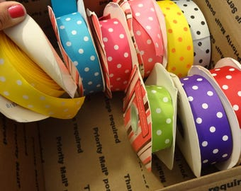 "1 1/2"" polka dot grosgrain ribbon grab bag, destash box, ribbon lot, mixed ribbon lot, polka dot ribbon grab bag"