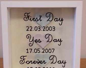 Personalised special dates box frame