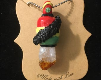 Citrine crystal with feather rasta