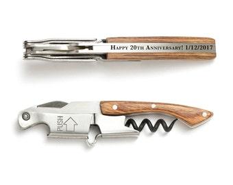Naturalwood Pocket Corkscrew Wine Opener Engraved - Coutale Sommelier - French Design - Wine Key Bottle Opener - Personalized Wedding Gift