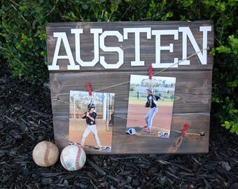 Custom Baseball Sign with Name and Photos, Baseball Sign with Player Name and Photo