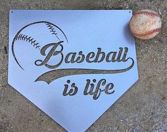 Baseball Is Life Plate Metal Sign, Baseball Is Life Sign