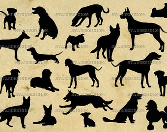 Digital SVG PNG JPG Dogs, vector, silhouette, clipart, instant download