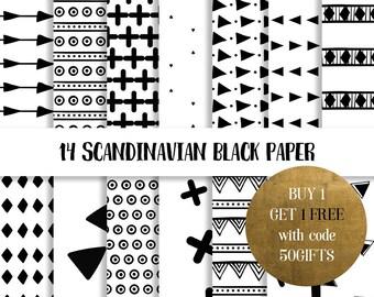 Scandinavian black digital paper 14, Black and white paper, black paper, minimalist paper, black pattern paper, nordic digital paper
