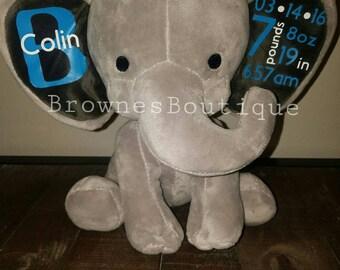 Customizable Elephant Birth Announcement stuffed animal.
