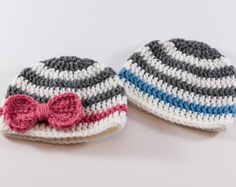 Crochet Twin Baby Hats, Boy Girl Twin Hats, Newborn Twin Hats, Photo Prop, Twins Striped Hats