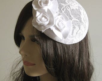 OOAK Romantic vintage white felt flowers floral ivory headpiece birdcage lace wedding bridal retro