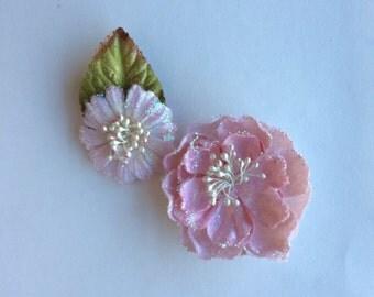 Pink Flower Clip Set
