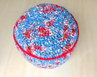 China blue and lipstick red pouffe pouf ottoman crochet knitted footstool