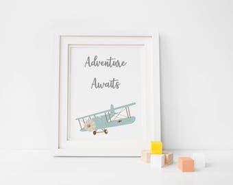 Adventure Awaits Print/ A4 Adventure Print/ Aeroplane Print/ Plane Print/ High Quality Print