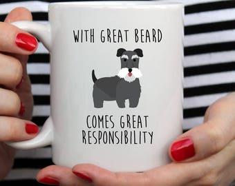 With Great Beard Mug | Cute Mug | Pet Mug | Movember Mug | Dog Mug | Schnauzer Gift | Shakespeare | Fathers Day Mug | Schnauzer Mug |  Gift