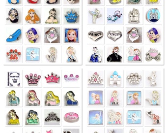 Once Upon a Time! Pick a Disney Princess Character Floating Charm for Living Memory and Glass Story Cinderella, Ariel, Belle, Frozen, Tinker