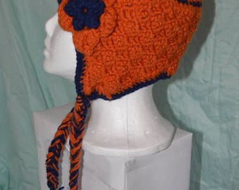 Orange and blue earflap hat