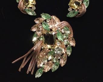 HATTIE CARNEGIE Brooch and Earrings