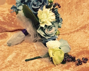 Blue Green and White Bridal Bouquet// Pale green, blue and white roses and dahlias, berries wedding bouquet